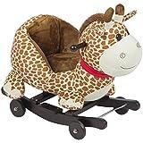 Best Choice Products Kids Giraffe Animal Rocker W/ Wheels Children Ride On Toy Plush Rocking Chair Ride On