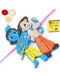 Ghasitaram Gifts Rakhi Chocolate Rakhi For Brother Kids Rakhis - Set Of 2 Dual Krishna Rakhi With Chocolate Box