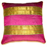 Homeblendz Polyester Dupion With 2 Layer Of Sari Border Magenta/green/gold 40x40 Cushion Cover With Piping