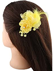 Anuradha Art Yellow Colour Adorable Styled With Beads Hair Accessories Side Pin Stylish Hair Clip For Women/Girls