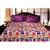 Trident Designer Solid,Traditional,Floral 100% Cotton Double Bed Sheet With 2 Pillow Covers- Purple,Pink & Blue