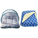 BRANDONN NEWBORN Premium Combo Of Toddler Mattress With Mosquito Net And Hooded Baby Blanket(Pack Of 2)