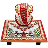 Pooja Creation White Marble Handmade Lord Ganesha Chowky In Multi Color For Home Use And Gift Purpose