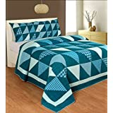 R & R Home Fashions Triangle Patch Cotton Double Quilt With 2 Pillow Covers- Blue