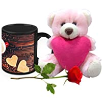 Valentine Gifts HomeSoGood Two Coffees One Love White Ceramic Coffee Mug With Teddy & Red Rose - 325 Ml