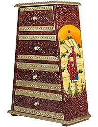 APKAMART Hand Crafted Wooden Jewelry Box Cum Utility Box - 12 Inch - Pyramid Shape - Showpiece Cum Decorative...