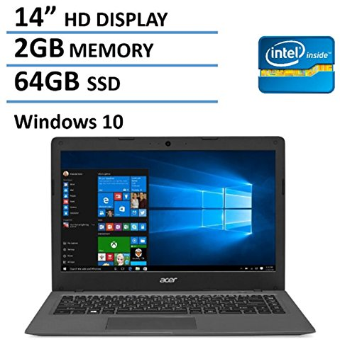2016 Newest Acer Aspire One Cloudbook 14-inch Laptop, Intel Dual-Core Processor, 2GB RAM, 64GB SSD, Office 365 Personal 1-year subscription,...