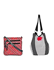 Pick Pocket Combo Of White And Red Canvas Sling Bag With PU Strap With Black And White Polka Dot Canvas Jholi...