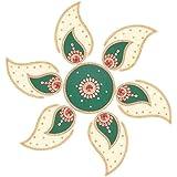Jyoti Hastkala Plastic Rangoli (32 Cm X 32 Cm X 0.5 Cm, Gold And Green)