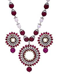 Pearls Cart Elegant Meena Work Round Pendant Set With Real Pearl Mala (Red) - Pcps7021