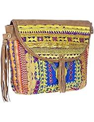 SHAYLA AFGHANI SLING BAG - Genuine Afghani Tapestry Cross Body Genuine Leather Tan Bohemian Gypsy Sling Bag