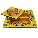 Kanishka Enterprises Wooden & Paper Mache Dry Fruit Box With Kundan Work - B01ER11VWI
