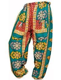Rajsthani Mandala Hand Block Print Peacock Alibaba Afghani Trouser - B06XVBYPZZ