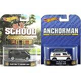 Will Ferrell Comedy Van Collection - Anchorman & Old School Retro Entertainment Hot Wheels Dodge Van