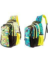 GLEAM Trendy Multicolour School Bag ( Yellow & Green ) Set Of 2 Bags