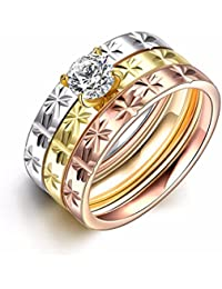 NEVI 3 In 1 Ring Stainless Steel Zirconia 18k Gold Rose Gold Plated Ring For Women And Girls