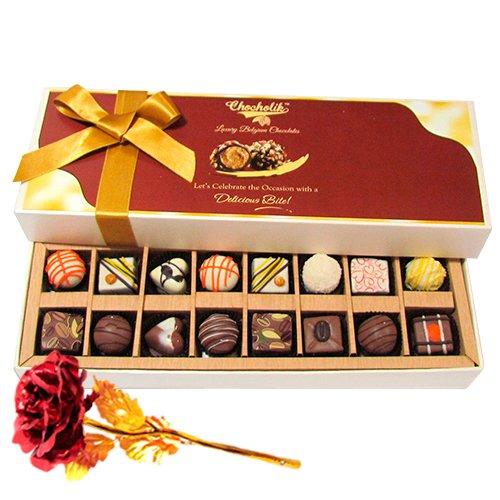 Sweet Treat Of Dark And White Chocolates Treats With 24k Red Gold Rose - Chocholik Belgium Chocolates