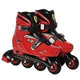 Ferrari FK7 - Adjustables Patines Rollers en Línea para Niños(PU Ruedas 70 mm, Rodamientos ABEC 5, PP Chasis+PE Cáscara, Botín Forro de Terciopelo), Rojo Talla S
