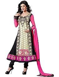 Black And Off White Semit Stitched Churidar Kameez Set