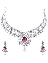 Nimble Silverish Metal Choker Necklace Set For Women - B00XVMLZL2