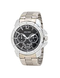 Swiss Trend Stylish Mens Wrist Watch With Black Dial And Stainless Steel Strap