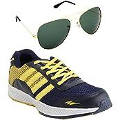 Elligator Trendy 1508 Navyblue & Yellow Sports Shoes With Aviator Sunglass Combo