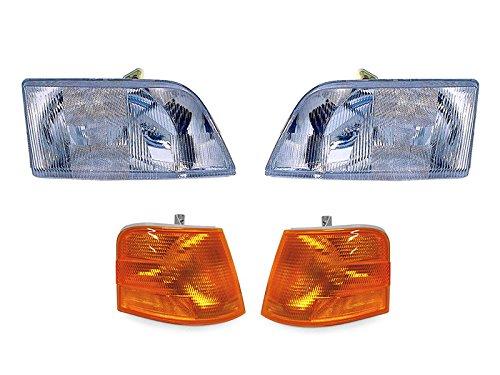 Volvo 98 – 11 Vnl 300 Vnm 200 Series Daycab Truck Head Light Corner 4 Piece Set