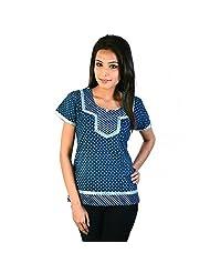 Jaipur RagaDesigner Silver Block Print Blue Cotton Top Blue Girls Kurti