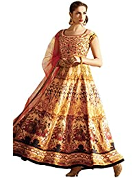 New Fashionable Multi & Beige Bhagalpuri Semi Stitched Gown