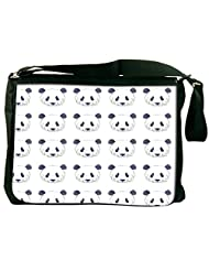 Snoogg Cute Panda Black And White Pattern Computer Padded Compartment Carrying Case Laptop Notebook Shoulder Messenger...