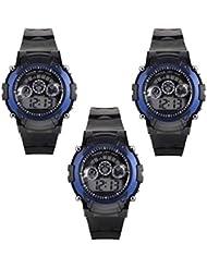 M-Mart Combo Sport Rubber Digital Seven Light Black & Blue Dial Watch For Kids Pack Of 3