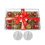 Chocholik Luxury Chocolates - 15pc Magical Collection Of Truffles With 5gm X 2 Pure Silver Coins - Gifts For Diwali