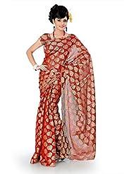 Designersareez Women Net Jacquard Printed Red Saree With Unstitched Blouse(792)