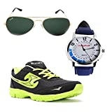 Elligator Stylish Black & Green Shoes & Watch With Spartiate Sunglass For Men's