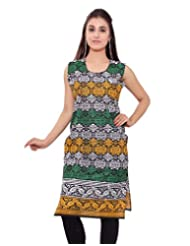 Kurti Studio Womens Beautiful Multi Color Black Printed Jaipuri Cotton Kurti