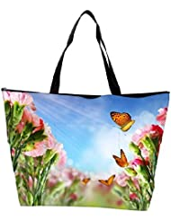 Snoogg Butterfly On Flowers Waterproof Bag Made Of High Strength Nylon - B01I1KFOGU