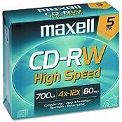 Maxell 4x CD-RW High Speed Media - 700MB - 120mm Standard - 5 Pack 1-Pack