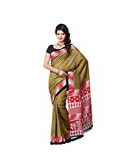 First Loot Beige And Red Color Art Silk Saree
