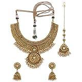 Adwitiya Gold Plated Traditional Necklace Set With Mang Tika