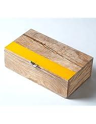 Deziworkz Square Yellow Striped Wooden Box (Large)