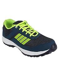 Footfly Men's PU Blue & Green Sports Shoes