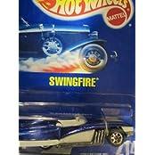 Swingfire 1994 Hot Wheels #214 Blue With Seven Spoke Wheels On Solid Blue Card