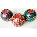Antikcart Handcrafted Elegant Meenakari Tea Light Candle Holders Set Of 3