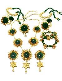 BLENT Traditional Dark Green Gota Jewellery Set For Women/Girls (Full)