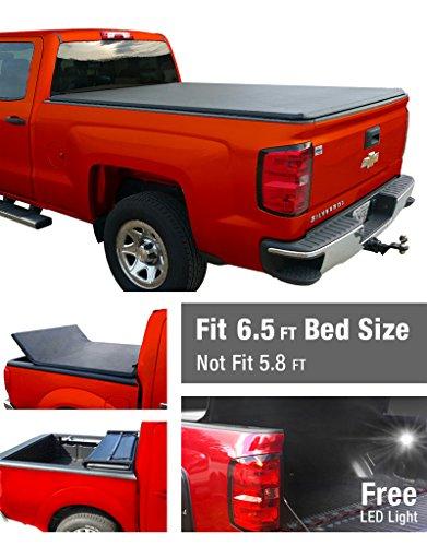 Premium TriFold Tonneau Truck Bed Cover For 2014-2016 Silverado/Sierra 1500 & 2015 Silverado/Sierra 2500 HD/3500 HD 6.5 Feet (78 inch) Standard Cargo Bed (W/O Utility Track / NOT For Stepside)