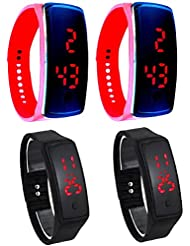 Pappi Boss - IMPORTED QUALITY ASSURED - Unisex Silicone Pack Of 4 New Button Led Digital Watch For Boys, Girls...