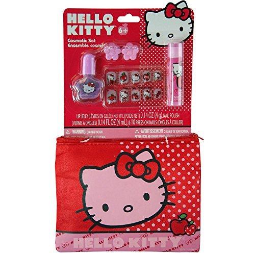14pc Sanrio Hello Kitty Hair Pretend Play Cosmetic Accessory Clutch Pouch Set
