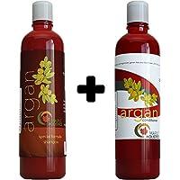 Argan Oil Shampoo And Hair Conditioner Set Argan, Jojoba, Almond Oil, Peach Kernel, Keratin Sulfate Free Safe...