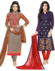 Surat Tex Blue & Grey Colored Chanderi Cotton Party Wear Embroidery Combo Of 2 Salwar Suit-ST_2DL_180
