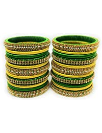 SAI Handmade Silk Thread Bangle Set For Women, Yellow And Green Color With Stone (Size - 2.8)